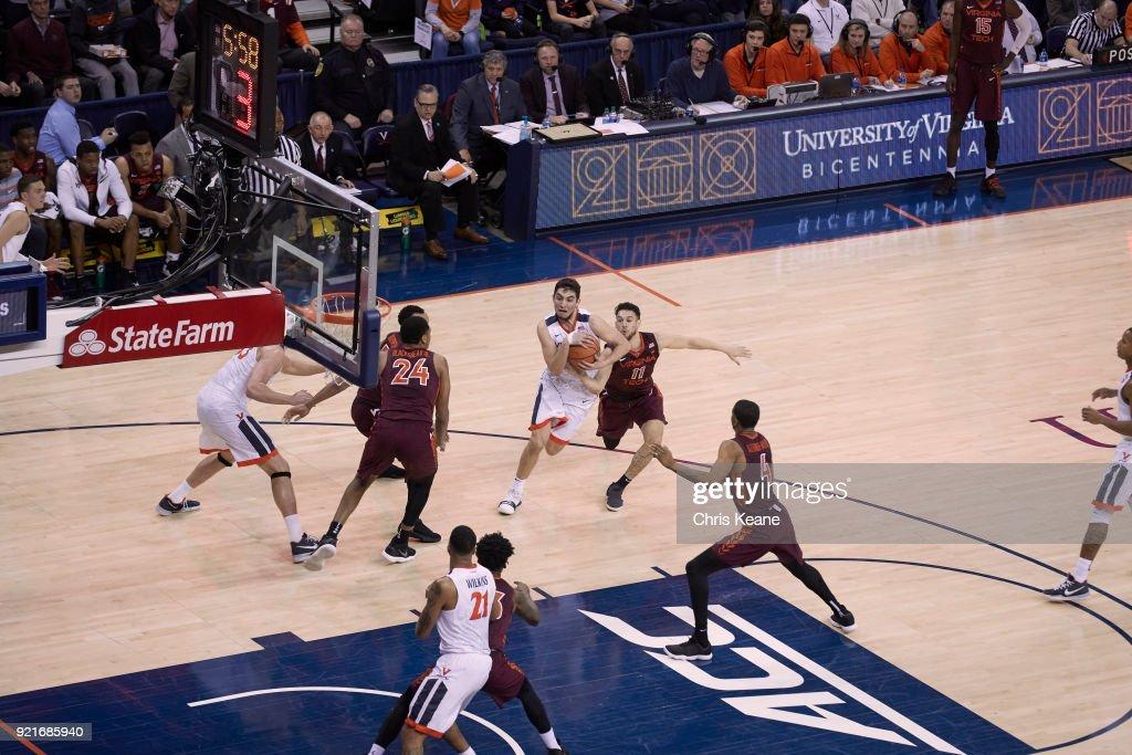 Aerial view of Virginia Ty Jerome (11) in action vs Virginia Tech at John Paul Jones Arena. Chris Keane TK1 )