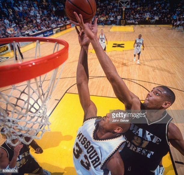 Aerial view of Wake Forest Tim Duncan in action vs Missouri Kelly Thames Columbia MO 2/9/1997 CREDIT John Biever