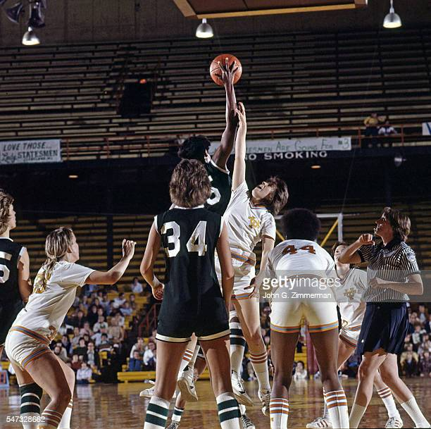 Semifinal: Delta State Lusia Harris in action, jump ball during tip-off vs Tennessee at Williams Arena. Minneapolis, MN 3/25/1977 CREDIT: John G....