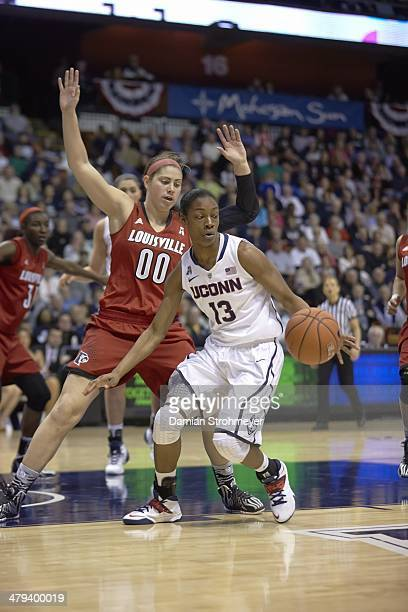 American Athletic Conference Tournament UConn Brianna Banks in action vs Louisville Sara Hammond during Final at Mohegan Sun Arena Uncasville CT...
