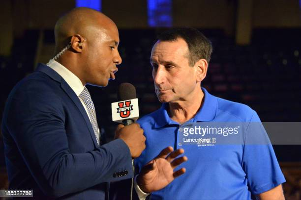 College Basketball Analyst Jay Williams interviews Head Coach Mike Krzyzewski of the Duke Blue Devils during Countdown to Craziness at Cameron Indoor...