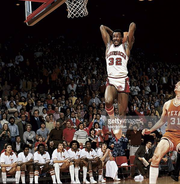 College Basketball Arkansas Sidney Moncrief in action making dunk vs Texas Cover Fayetteville AR 2/1/1978