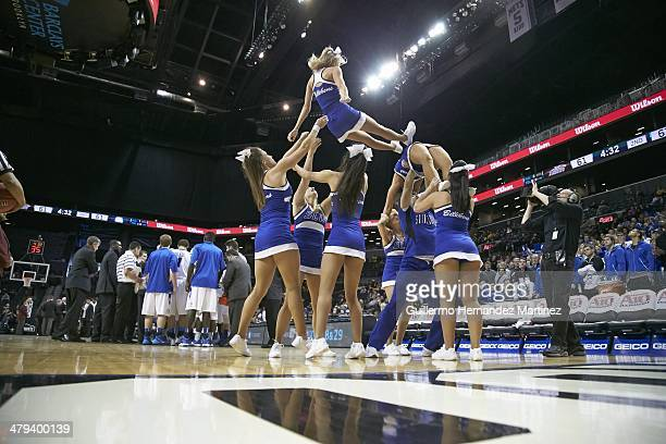 Atlantic 10 Tournament Saint Louis cheerleaders forming pyramid on court during game vs St Bonaventure during Quarterfinals at Barclays Center...