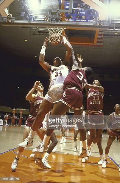 Auburn Charles Barkley in action rebound vs Mississippi State at BeardEavesMemorial Coliseum Auburn AL CREDIT George Tiedemann