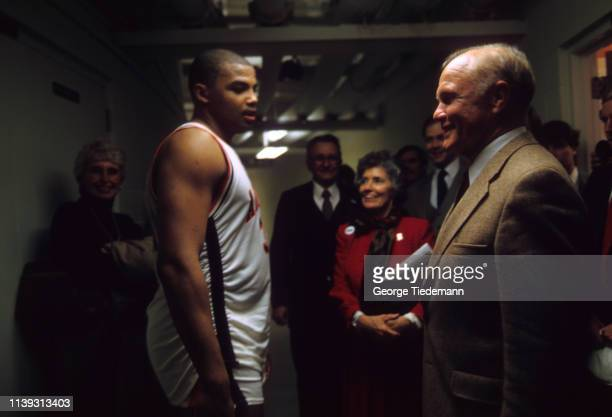 Auburn Charles Barkley talking to United States Senator and former astronaut John Glenn after game vs Mississippi State at BeardEavesMemorial...