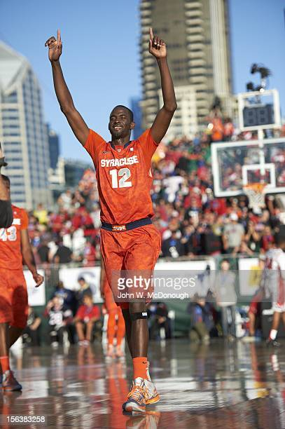 Battle on the Midway Syracuse Baye Moussa Keita victorious during game vs San Diego State on the USS Midway Museum The Midway is a retired aircraft...