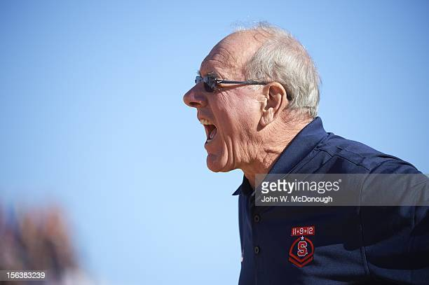 Battle on the Midway Syracuse head coach Jim Boeheim during game vs San Diego State on the USS Midway Museum The Midway is a retired aircraft carrier...