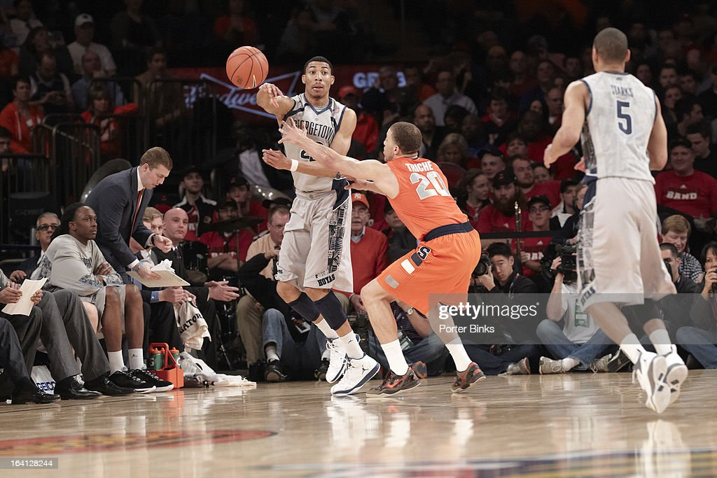 Georgetown Otto Porter Jr. (22) in action, passing vs Syracuse during Semifinal game at Madison Square Garden. Porter Binks F34 )