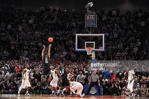 Big East Tournament Rear view of UConn Kemba Walker in action making last second game winning shot for buzzer beater vs Pittsburgh at Madison Square...