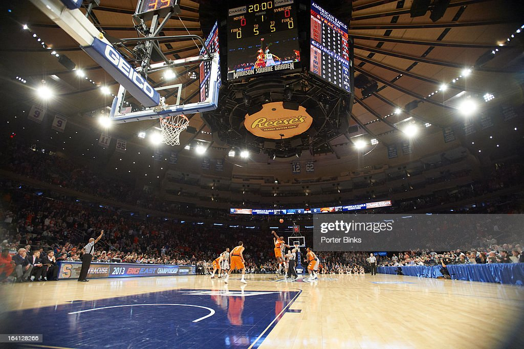 View of Georgetown vs Syracuse during tipoff during Semifinal game at Madison Square Garden. Porter Binks F74 )