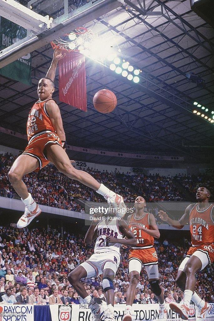 Oklahoma State John Starks in action, dunking vs Kansas