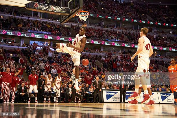 Big Ten Tournament Indiana Victor Oladipo in action dunk vs Illinois during Quarterfinals game at United Center Sequence Chicago IL CREDIT Andrew...
