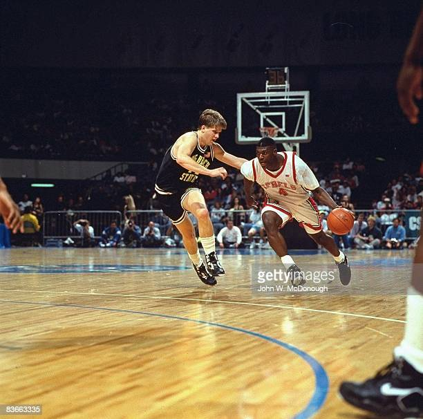 Big West Tournament UNLV Larry Johnson in action shot vs Long Beach State Long Beach CA 3/8/1991 CREDIT John W McDonough