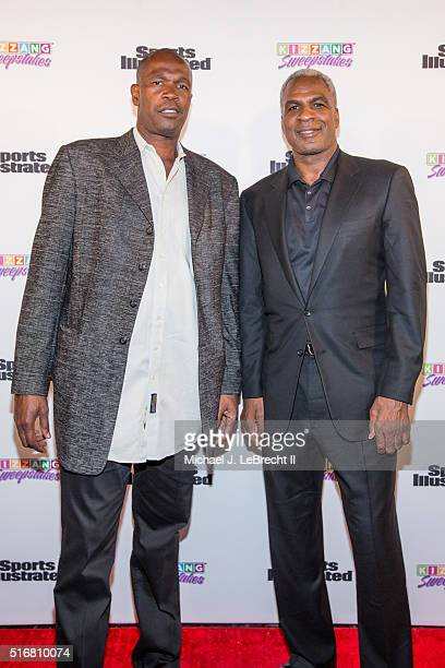 Bracket Challenge Party Former NBA players Herb Williams and Charles Oakley posing on red carpet during event at Slate New York NY CREDIT Michael J...