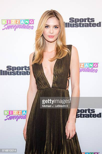 Bracket Challenge Party SI Swimsuit model Megan Williams posing on red carpet during event at Slate New York NY CREDIT Michael J LeBrecht II