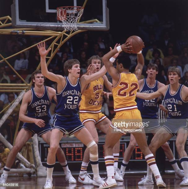 College Basketball: Brigham Young Danny Ainge in action, playing defense vs Arizona State, 2/19/1978