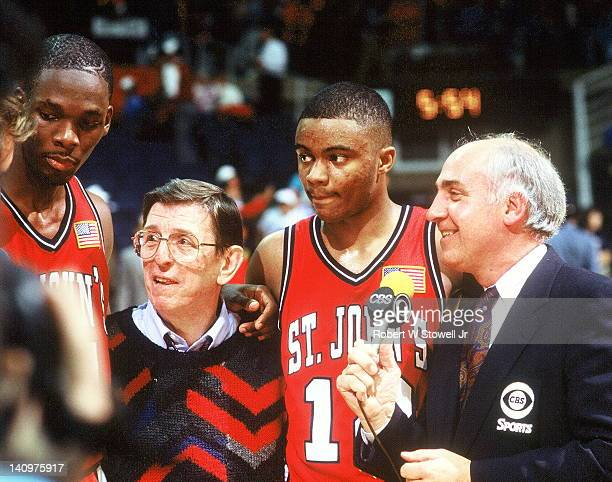 CBS' college basketball broadcast commentator Billy Packer interviews among others player Malik Sealy coach Lou Carnesecca and player Jason Buchanan...
