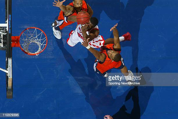 College Basketball Bucknell Charles Lee Donald Brown against Wisconsin Alando Tucker during the second round of the NCAA Tournament in Oklahoma City...