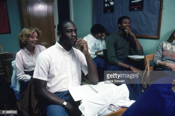 College Basketball Casual portrait of North Carolina Michael Jordan at desk during First Aid class at University of North Carolina Chapel Hill NC