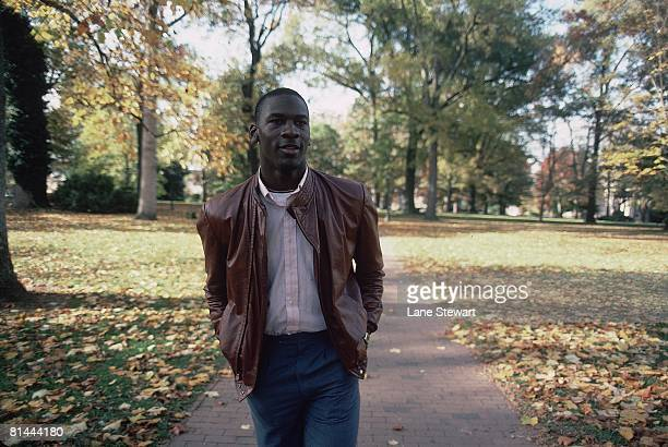 College Basketball Casual portrait of North Carolina Michael Jordan at University of North Carolina campus Chapel Hill NC