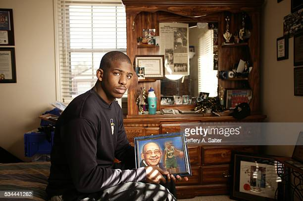 Casual portrait of Wake Forest point guard Chris Paul posing in his bedroom during photo shoot at home WinstonSalem NC CREDIT Jeffery A Salter