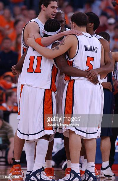 College Basketball Championship Illinois Deron Williams James Augustine Dee Brown Luther Head Roger Powell huddle against Fairleigh Dickinson during...
