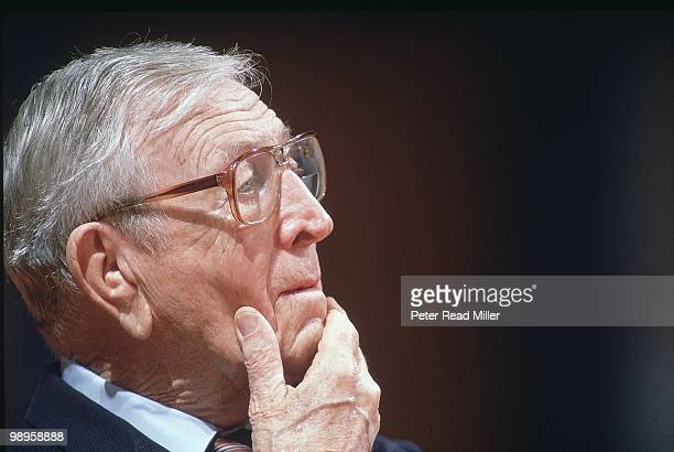 Closeup of former UCLA coach John Wooden at Martinsville HS during ceremony Wooden a former student has the gym dedicated in his name Martinsville IN...