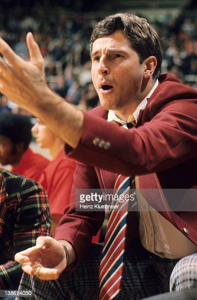 Closeup of Indiana coach Bobby Knight during game vs Illinois at Assembly Hall Champagne IL CREDIT Heinz Kluetmeier