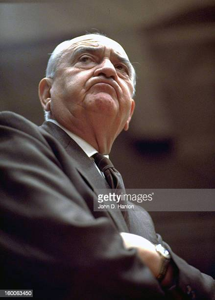 Closeup of Kentucky coach Adolph Rupp during game vs Tennessee at Stokely Athletic Center Knoxville TN CREDIT John D Hanlon