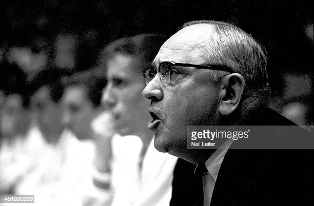 Closeup of Kentucky head coach Adolph Rupp on sidelines during game vs Mississippi at Memorial Coliseum Lexington KY CREDIT Neil Leifer