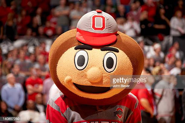 Closeup of Ohio State mascot Brutus Buckeye during game vs Michigan State at Value City Arena at Jerome Schottenstein Center Columbus OH CREDIT John...