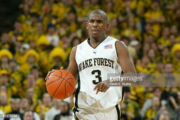 College Basketball Closeup of Wake Forest Chris Paul in action vs Duke WinstonSalem NC 2/2/2005