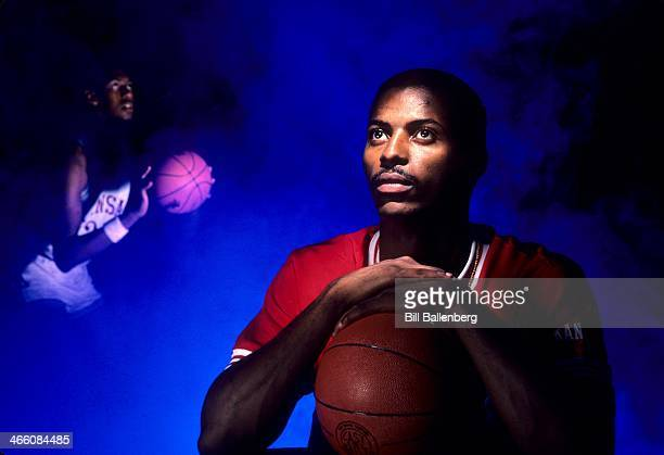Closeup portrait Kansas Ron Kellogg with Danny Manning in background during photo shoot Multiple exposure Lawrence KS CREDIT Bill Ballenberg