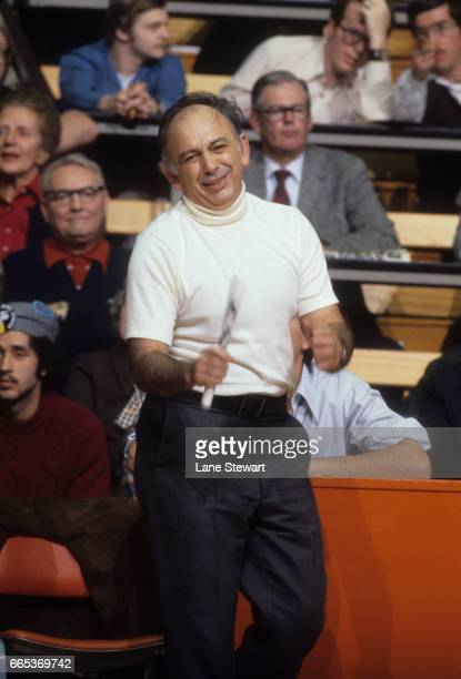 Closeup portrait of Princeton head coach Pete Carril upset on sidelines bench during game vs Colgate at Jadwin Gymnasium Princeton NJ CREDIT Lane...