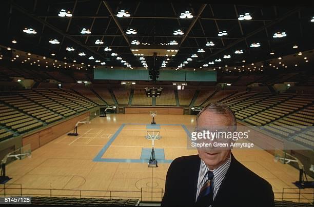 College Basketball Closeup portrait of UCLA coach John Wooden at Pauley Pavilion stadium Los Angeles CA