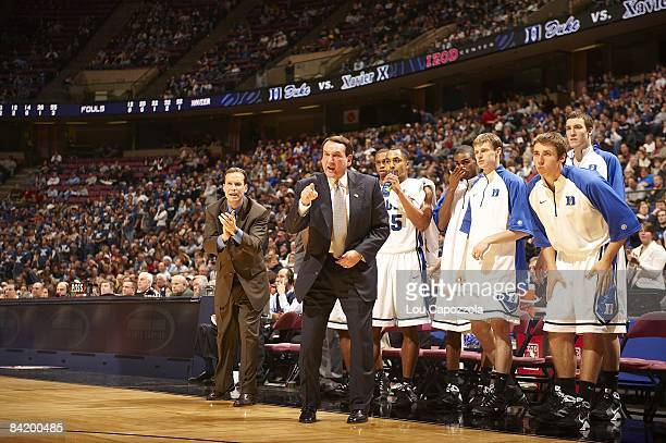 Duke coach Mike Krzyzewski courtside, yelling during game vs Xavier University. East Rutherford, NJ CREDIT: Lou Capozzola