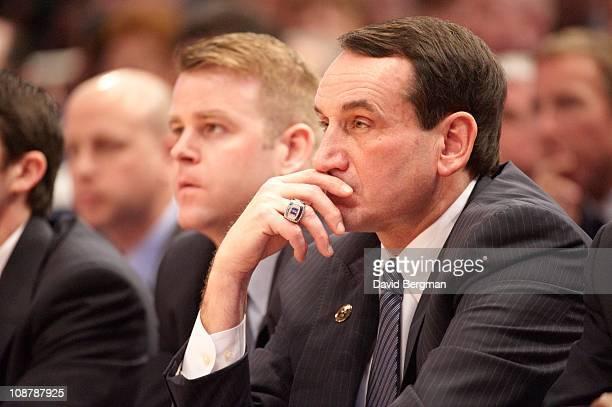 Duke head coach Mike Krzyzewski courtside during game vs St. John's at Madison Square Garden. St. John's defeats Duke 93-78.New York, NY...