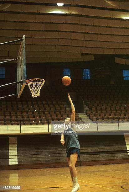 Duke point guard Bob Verga shoots during practice at Duke Indoor Stadium Durham NC CREDIT James Drake
