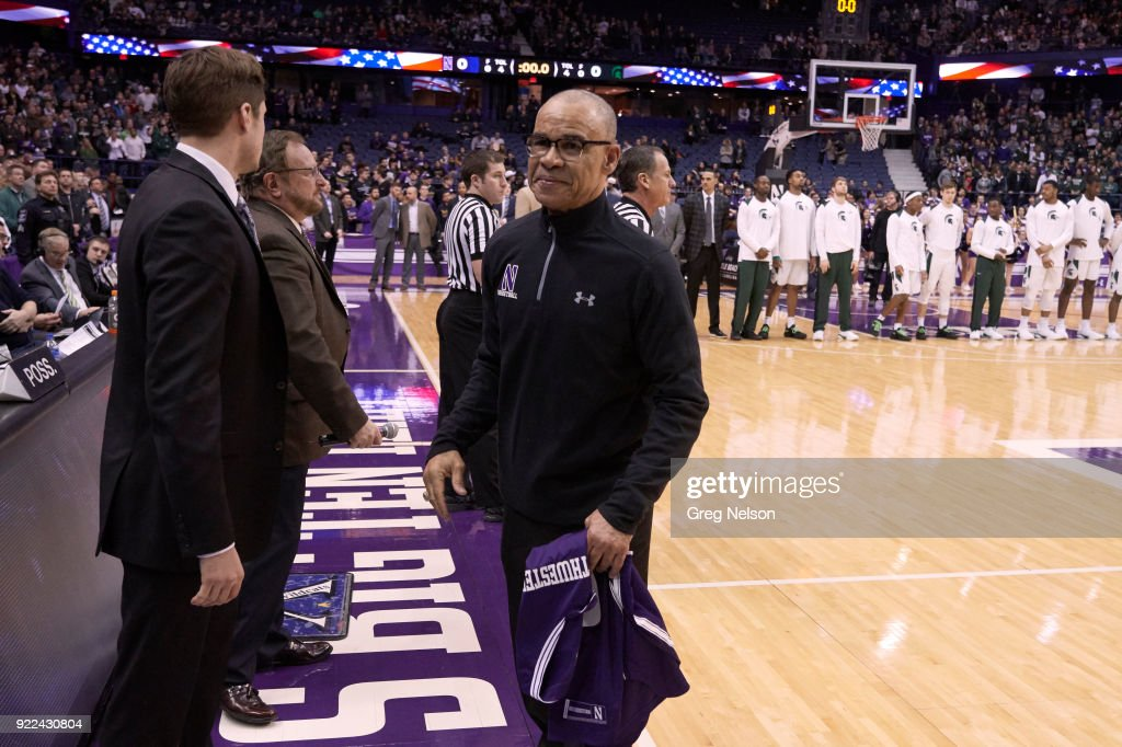 Former NBA referee Danny Crawford holding jersey after pregame ceremony before Northwestern vs Michigan State game at Allstate Arena. Greg Nelson TK1 )