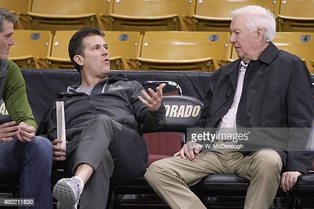 Fox Sports analyst Bill Raftery talking with UCLA coach Steve Alford before game vs Colorado at Coors Events Center Boulder CO CREDIT John W McDonough