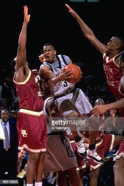 Georgetown Allen Iverson in action vs Boston College Landover MD 2/24/1996 CREDIT Al Tielemans