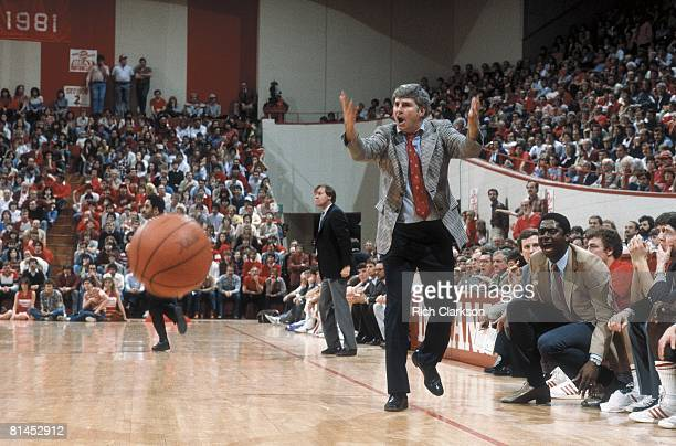 College Basketball: Indiana coach Bobby Knight upset during game vs Northwestern, Bloomington, IN 2/19/1983