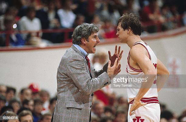 Indiana head coach Bob Knight with Tom Kitchel during game vs Northwestern. Bloomington, IN 2/19/1983 CREDIT: Tony Tomsic