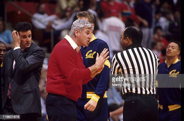 Indiana head coach Bobby Knight arguing with referee during game vs California at Hartford Civic Center Hartford CT CREDIT Manny Millan