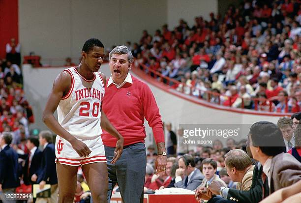 Indiana head coach Bobby Knight on sidelines with Rick Calloway during game vs Iowa State at Assembly Hall Bloomington IN CREDIT John Iacono