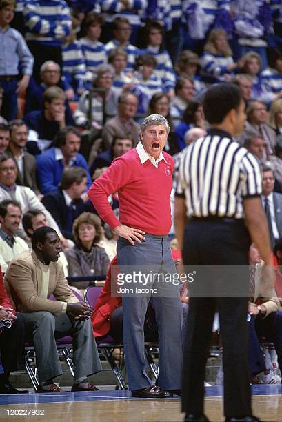 Indiana head coach Bobby Knight uspet yelling at referee from sidelines during game vs Kentucky at Rupp Arena Lexington KY CREDIT John Iacono