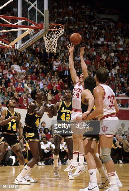 Indiana Steve Bouchie in action vs Iowa. Bloomington, IN 2/16/1983 CREDIT: Tony Tomsic