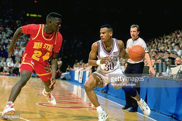 Kansas Adonis Jordan in action vs Iowa State JustusThigpen at Allen Fieldhouse Lawrence KS CREDIT Richard Mackson