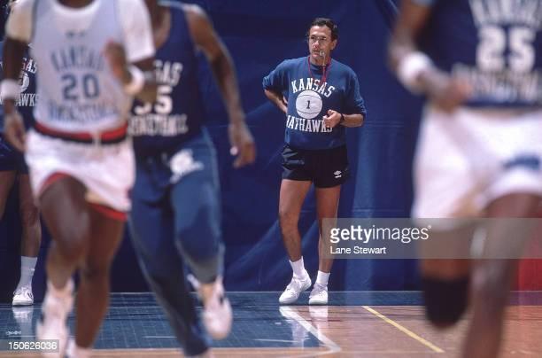 Kansas coach Larry Brown during practice at Allen Fieldhouse Lawrence KS CREDIT Lane Stewart