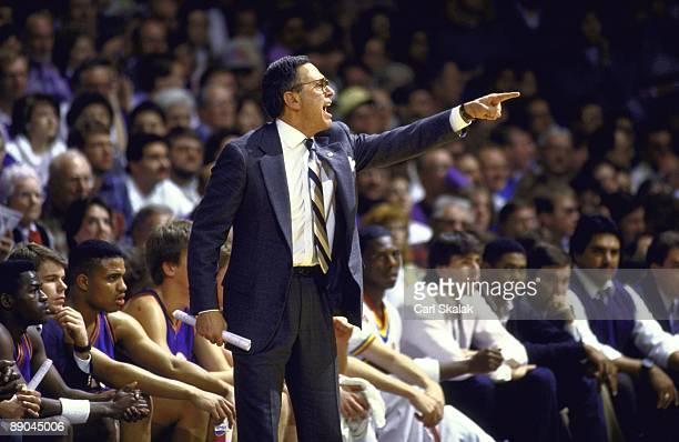 Kansas coach Larry Brown on sidelines during game vs Kansas State Manhattan KS 2/18/1988 CREDIT Carl Skalak